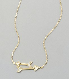 Sterling Silver Gold Plated Arrow Necklace with Cubic Zirconia