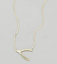 Sterling Silver Gold Plated Wishbone Necklace with Cubic Zirconia