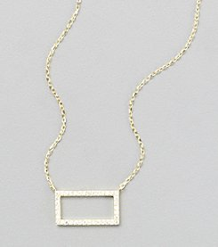 Sterling Silver Gold Plated Open Rectangle Necklace with Cubic Zirconia