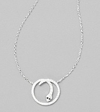 Sterling Silver Circle Snake Necklace with Cubic Zirconia