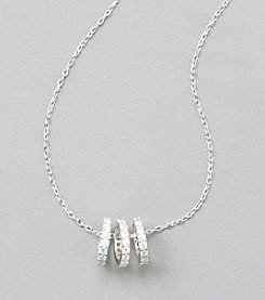 Sterling Silver Triple Ring Necklace with Cubic Zirconia