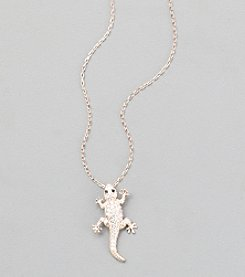 Sterling Silver Rose Gold Plated Lizard Necklace with Cubic Zirconia