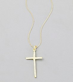 Sterling Silver Gold Plated Cross Pendant with Cubic Zirconia