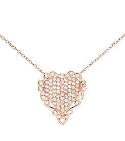 Sterling Silver Rose Gold Plated Heart Necklace with Cubic Zirconia