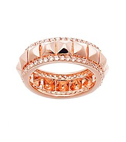 Rose Goldtone Brass Rose Gold Plated Stud Ring with Cubic Zirconia