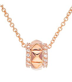 Rose Goldtone Brass Rose Gold Plated Stud Pendant with Cubic Zirconia
