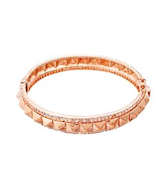 Rose Goldtone Brass Rose Plated Stud Bangle with Cubic Zirconia