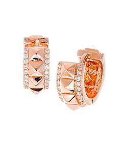 Rose Goldtone Brass Rose Plated Stud Earrings with Cubic Zirconia