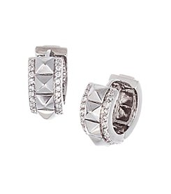 Silvertone Brass Stud Earrings with Cubic Zirconia