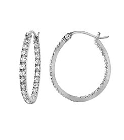 Designs by FMC Sterling Silver Plate Cubic Zirconia Round Hoop Earrings