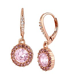 Betsey Johnson® Small Pink Round Crystal Drop Earrings