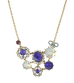 Betsey Johnson® Purple Carved Flower Gem Frontal Necklace