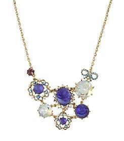 Betsey Johnson® Purple Carved Flower Gem Frontal Necklace