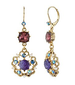 Betsey Johnson® Purple Carved Flower Medallion & Crystal Gem Drop Earrings