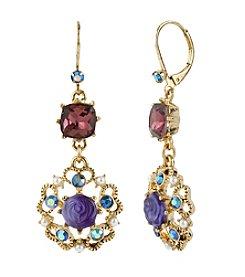 Betsey Johnson® Purple Carved Flower Medallion & Crystal Gem Drop Earrings