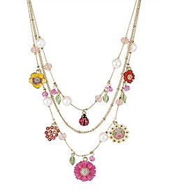 Betsey Johnson® Flower & Ladybug Multicolor Charm Illusion Necklace