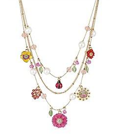 Betsey Johnson® Flower & Ladybug Multicolor Charm Illusion Necklace