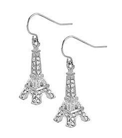 Betsey Johnson® Crystal Eiffel Tower Drop Earrings