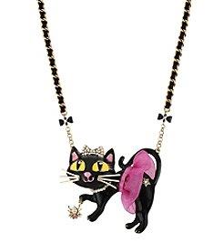 Betsey Johnson® Pink Tutu Cat Pendant Necklace
