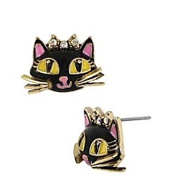 Betsey Johnson® Black/Pink Cat Stud Earrings