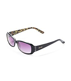 Nine West® Black/Leopard Small Plastic Rectangle Sunglasses with Rhinestones