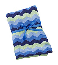 Cuddle Bear® Baby Boys' Blue Chevron Knit Blanket