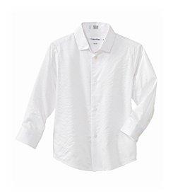 Calvin Klein Boys' 4-20 White Long Sleeve Tonal Stripe Woven Shirt
