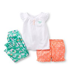 Carter's® Girls' 4-14 White 3-pc. Bird Print Pajama Set