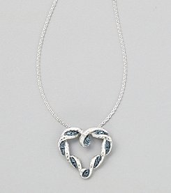 Designs by FMC Sterling Silver Plate Blue Diamond Accent Heart 18