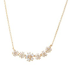 Gold-Plated Cubic Zirconia Flowers Necklace