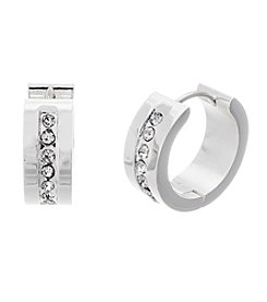 Silver-Plated Stainless Steel Inset Cubic Zirconia Hoops