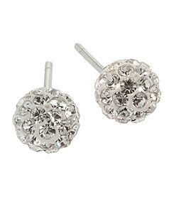 Sterling Silver Crystal Ball Post Earrings