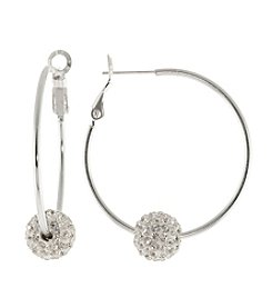 Silver-Plated Hoop with Crystal Bead