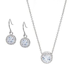 Silver-Plated Round Cubic Zirconia Earrings & Pendant Set