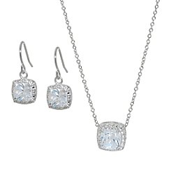 Silver-Plated Square Cubic Zirconia Earrings & Pendant Set