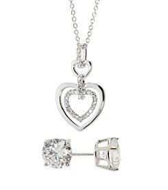 Silver-Plated  Cubic Zirconia Earrings & Heart Pendant Set