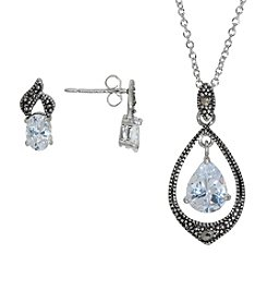 Silver-Plated Purple Cubic Zirconia & Marcasite Set