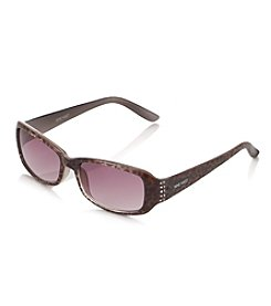 Nine West® Grey Plastic Rectangle Sunglasses With Rhinestone Embellishments
