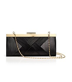 La Regale® Black Basketweave Clutch
