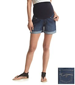 Three Seasons Maternity® Denim Fringe Cuffed Shorts