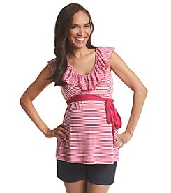 Three Seasons Maternity® Ruffle Neck Belted Stripe Tank