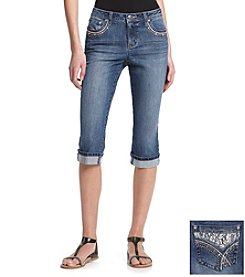 Earl Jean® Petites' Lace Inset Embellished Back Pocket Denim Capris