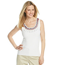 Ruby Rd. Petites' Sunset Island Fine Gauge Rib Knit Embellished Sweater Tank
