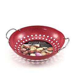 Charcoal Companion® Nonstick Red Wok with Wire Handles