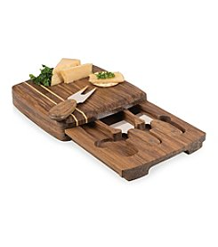 Picnic Time® Cordova Cutting Board with Drawer and Cheese Tool Set