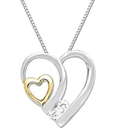 0.08 ct. t.w. Diamond Double Heart Pendant Necklace in Sterling Silver/14K Gold