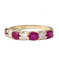 Effy® Lead Glass Filled Ruby & 0.35 ct. t.w. Diamond Ring in 14K Yellow Gold
