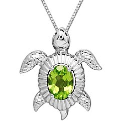 Peridot Turtle Pendant Necklace in Sterling Silver