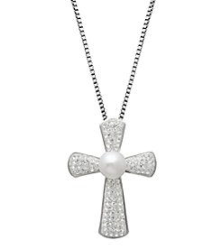 Freshwater Pearl Crystal Cross Pendant Necklace in Sterling Silver
