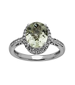 Green Amethyst & White Topaz Ring in Sterling Silver